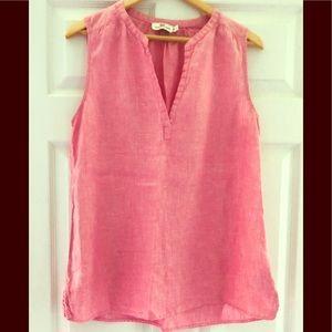 Vineyard Vines Pink Linen Sleeveless Shirt 🐳